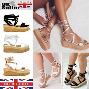 7d89de4b30 Image is loading Womens-Ladies-Flat-Wedge-Espadrille-Sandals-Lace-Tie-
