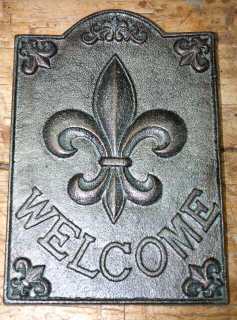 Large Cast Iron Fleur De Lis Welcome Plaque Finial Garden Sign Home Decor Green For Sale Online