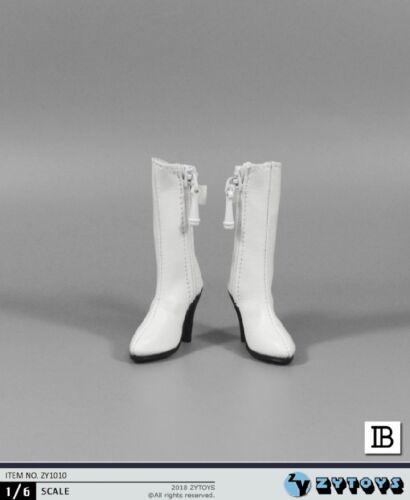 ZYTOYS 1//6 White High Heels Zipper Boots Shoes Empty Inside F 12/'/' Figure