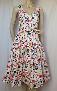 0f74bb0bde6cbd Das Bild wird geladen Laura-Ashley-Sommerkleid-38-Blumen-Hochzeit-weiss-blau -