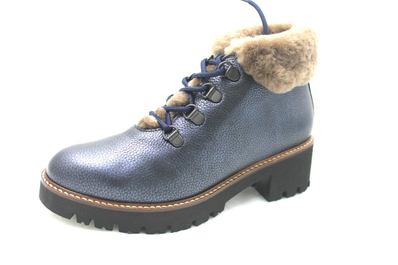 scarpa donna callaghan13419 blu scarponcino pelliccia allacciato cararmato light