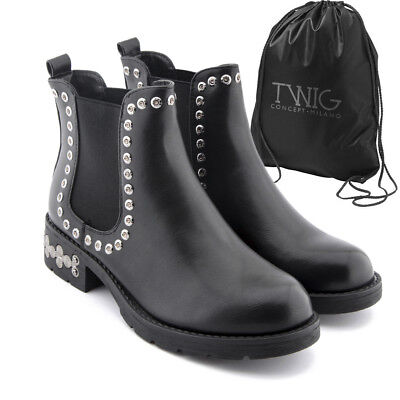 Botas mujer TWIG T601 botines zapatos tachuelas calzado negro