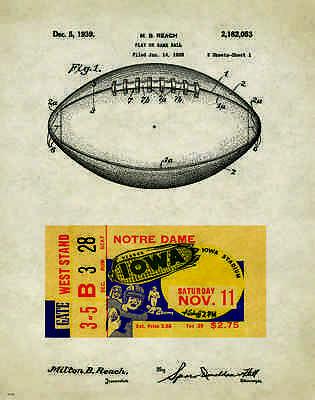Iowa Hawkeye Football 1939 Ticket Stub Patent Poster Nile Kinnick Stadium PAT233
