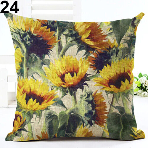 Tropical Plant Leaves Flower Linen Cushion Cover Pillow Case Home Decor Reliable