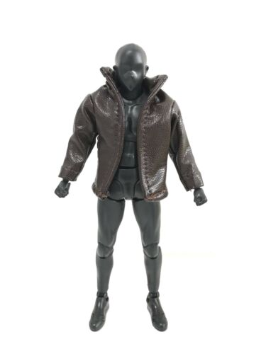 No figure SU-JKS-TN 1//12 Small Dark Brown Wired Leather Jacket for SHF Figma