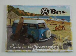 Kühlschrank-Ma<wbr/>gnet VW Bulli / Bus Ready for the summer surf coast Nostalgic Art