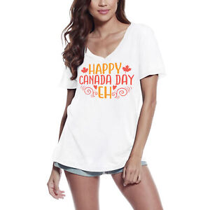 ULTRABASIC Femme T-shirt Happy Canada Day Eh Canada Tee Shirt à manches courtes