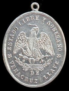 Mexico-1879-034-AWARD-034-Medal-Estado-Libre-y-Soberano-de-Veracruz-Silver-UNC-Rare