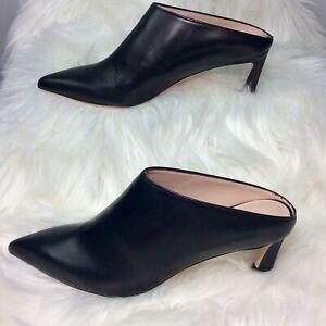 Stuart-Weitzman-Womens-Mira-Mule-Size-6-5-M-Black-Leather-Shoes-Pointed-Toe-Heel