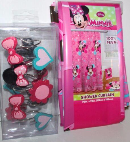 Disney Minnie Mouse NWT Vinyl Shower Curtain /& Shower Curtain Hooks Bows Hearts