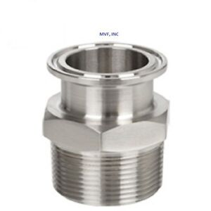 SANITARY 2″ × 2″ NPT MALE ADAPTER 304S/S CLAMP END DAIRY TRI CLOVER <SAN046