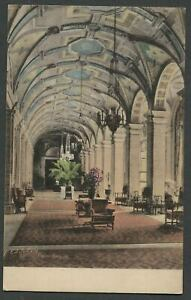 Palm-Beach-FL-c-1920s-30s-Hand-Colored-Postcard-THE-BREAKERS-HOTEL-LOBBY