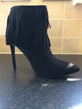 Pointed Toe Stiletto Heel Ankle Boot With Fringing Detail Black suedette