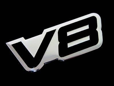 2 FENDER HOOD TRUNK DOOR V8 8 CYLINDER ENGINE ALUMINUM EMBLEMS BADGE SET BLACK