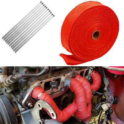 "Orange Q 2/"" x 50FT Exhaust Header Fiberglass Heat Wrap Tape w// 5 Steel Ties"