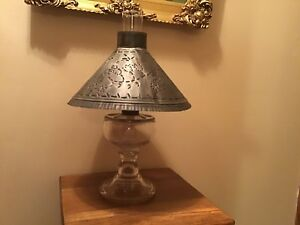 Antique-18-Glass-Pedestal-Oil-Lamp-With-Punched-Tin-Shade