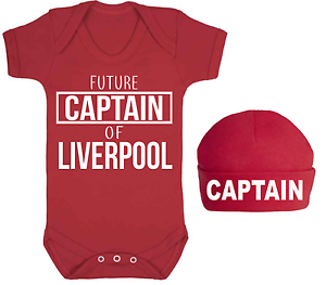 Future Captain of Liverpool Baby Vest Hat Set Football Baby Set 100/% Cotton