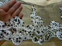 Silver Embroidered Sequined Lace Trim With Black Mesh/ Sewing/ Crafts/7.5 Wide