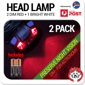 2-x-Red-amp-White-LED-Astronomy-Headlamp-Night-Light-Head-Torch-inc-Batteries