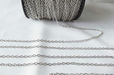 3 metres x Silvertone Fine Metal Belcher Chain - BNChain 00