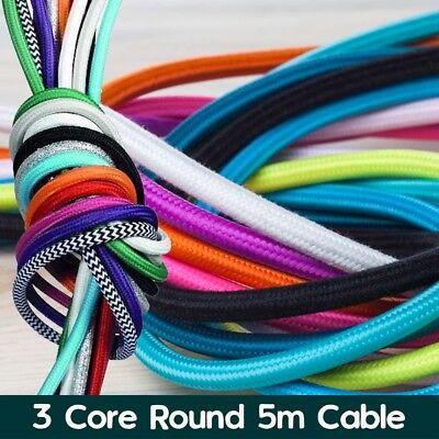 5M Cable Eléctrico Redondo 3 núcleos Trenzado Cable de iluminación de tela de estilo vintage Flex UK