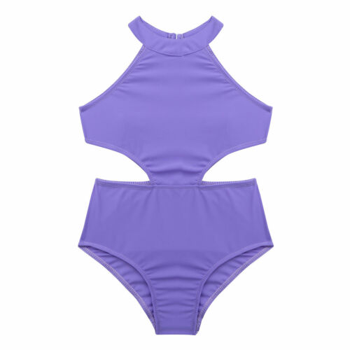 UK Girls Kids Dance Gymnastics Leotard Sleeveless Bodysuit Cutout Back Dancewear