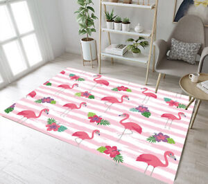 Details About Cartoon Flamingo Fl Floor Mat Rug Kids Bedroom Carpet Living Room Area Rugs