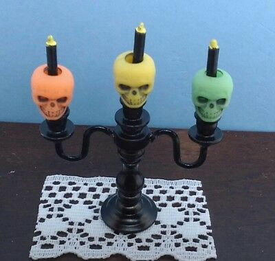 Dollhouse Halloween Candelabra Dripping Black Candles 1:12 Doll House Miniature