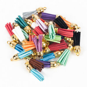 30Pcs-Suede-Leather-Tassel-Pendant-Charms-DIY-Keychain-Jewelry-Findings-Handmade
