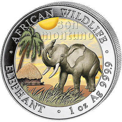 2017 Somalian ELEPHANT DAY /& NIGHT Colorized Silver 2 Coin Set AFRICAN WILDLIFE