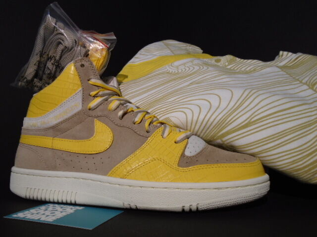 05 Nike Dunk Air COURT FORCE HI STUSSY 1 BONE MAIZE YELLOW SAIL WHITE BONE 1 SHIRT 9.5 6940bb