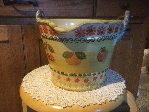 "Ceramic Pail. 7"" H x 9.5"" D. Hand Painted. Made in Italy. Fruits."