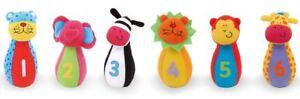 Galt Jungle Pals Skittles Bowling giocattolo bambino/neonato/bambino sonaglio giocattolo morbido BN  </span>