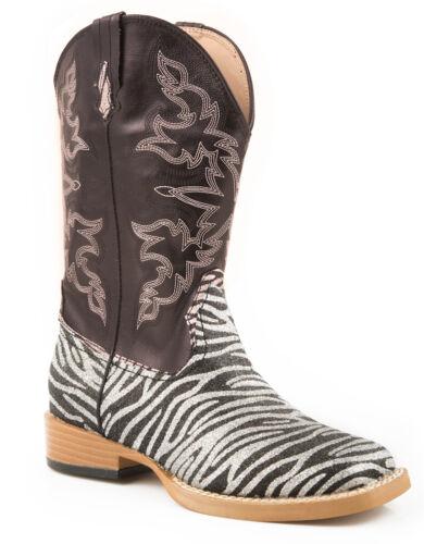Roper Kids Girls Sq Toe Fancy Black Zebra Glitter Faux Leather Cowboy Boots