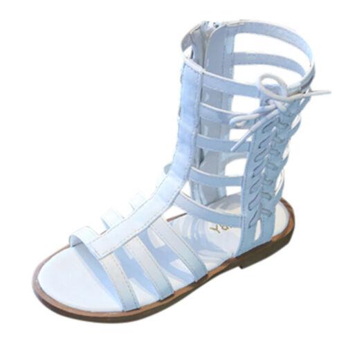 Summer Fashion Toddler Girls Open Toe Roman Sandals Zip Gladiator Shoes Children