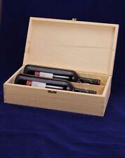PLAIN vino in legno Box per 2 standard 75 CL BOTTIGLIE REGALO DECOUPAGE Crafts