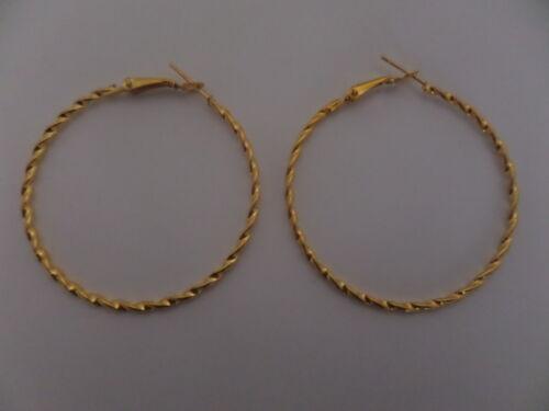 Señoras Chapado en Oro Grande Aro Pendientes 5CM 1 par de giro