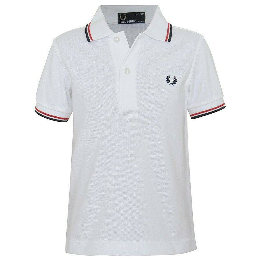 FRED PERRY WHITE, BRIGHT RED & NAVY TWIN TIPPED  POLO SHIRT RRP