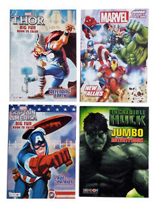 Details About Set Of 4 Captain America Hulk Thor Avengers Kids Coloring Book Activity Books