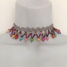 NEW Multi Colour Bead Silver Choker Short Necklace festival*pompom*fringe*ethnic