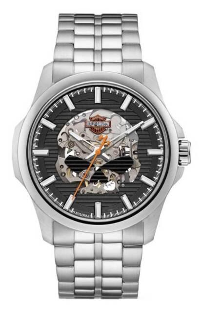 Harley-Davidson Men's Willie G Skull Self-Winding Stainless Steel Watch 76A158