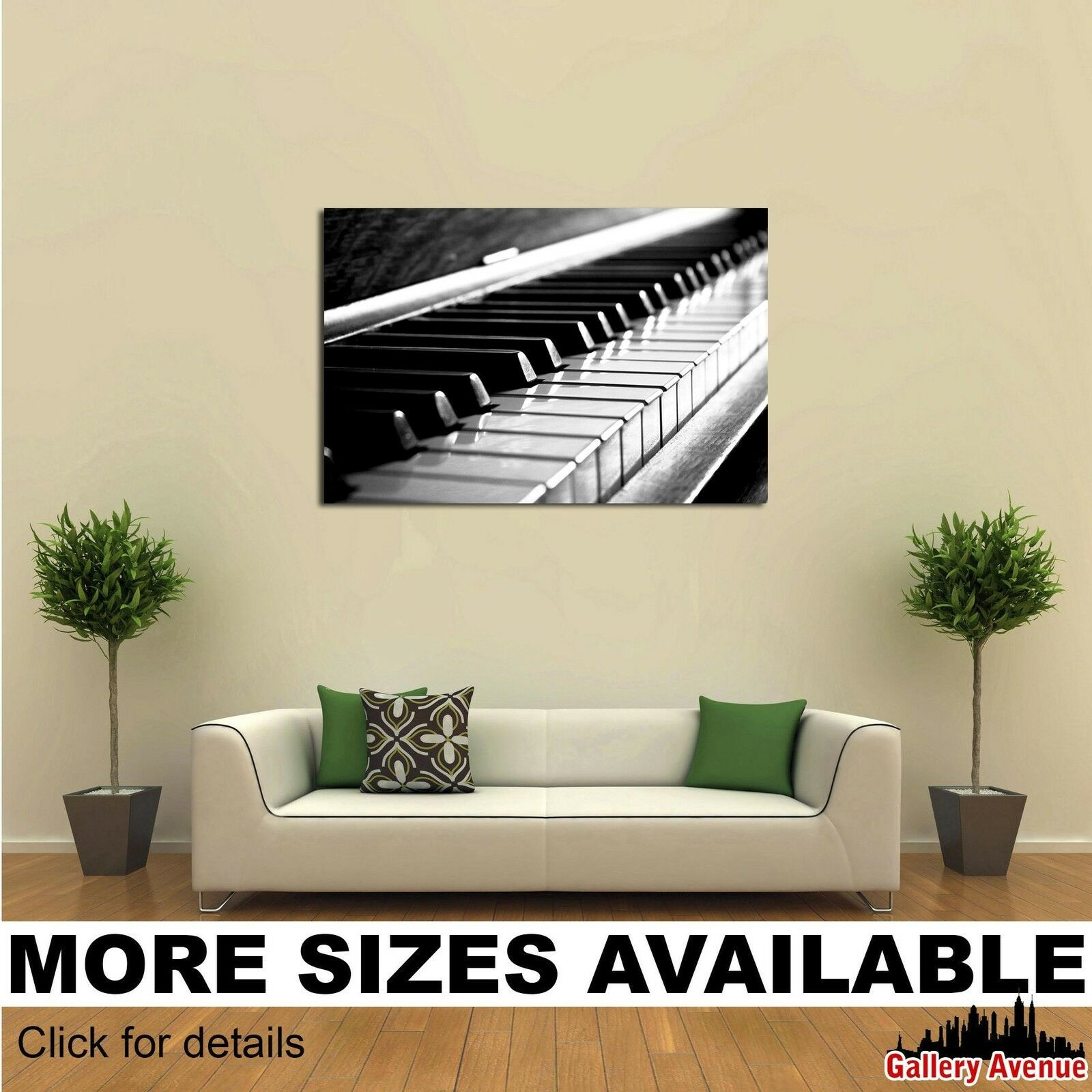 Wall Art Canvas Picture Print - Golden Keys of a Piano bw 3.2