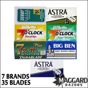 35 Double Edge Safety Razor Blades Sample Pack, Astra Derby ...