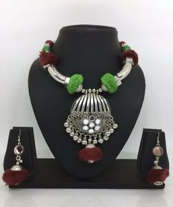 Antique-Silver-Oxidized-Indian-Statement-Necklace-Ethnic-Tribal-Diwali-Jewelry