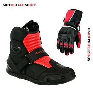 Men-039-s-Motorcycle-Short-Ankle-Racing-Boots-amp-Motorbike-Leather-Gloves-Armoured-CE