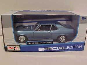 1970-Chevy-Nova-SS-Coupe-Die-cast-Car-1-24-Maisto-7-5-inch-Blue