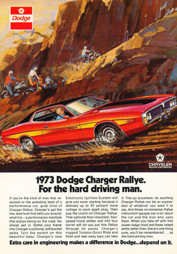 Classic Vintage Advertisement Ad D73 Depend 1973 Dodge Charger Rallye