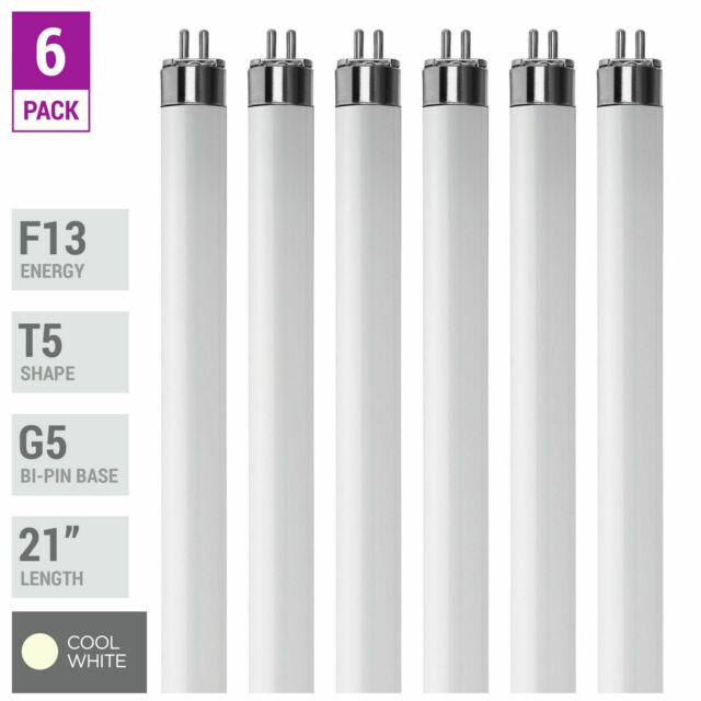F21W//T5//830//ECO Straight T5 Fluorescent Tube Light Bulb, GE 46677 Pack Of 4