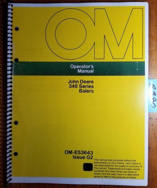 John Deere 346 Series Balers Ome53643 Operator's Manual Book Ebay. John Deere 346 Series Baler Owner's Operator's Manual Ome53643. John Deere. John Deere 346 Baler Parts Diagram At Scoala.co