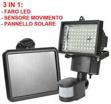 Faro LED + sensore di movimento,ad energia solare. Faretto sole sensore batteria
